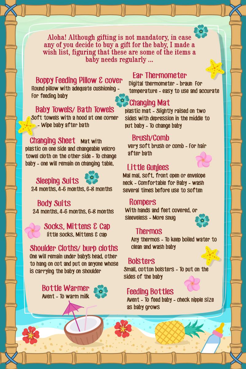 Hawaiian theme Baby Shower Invite