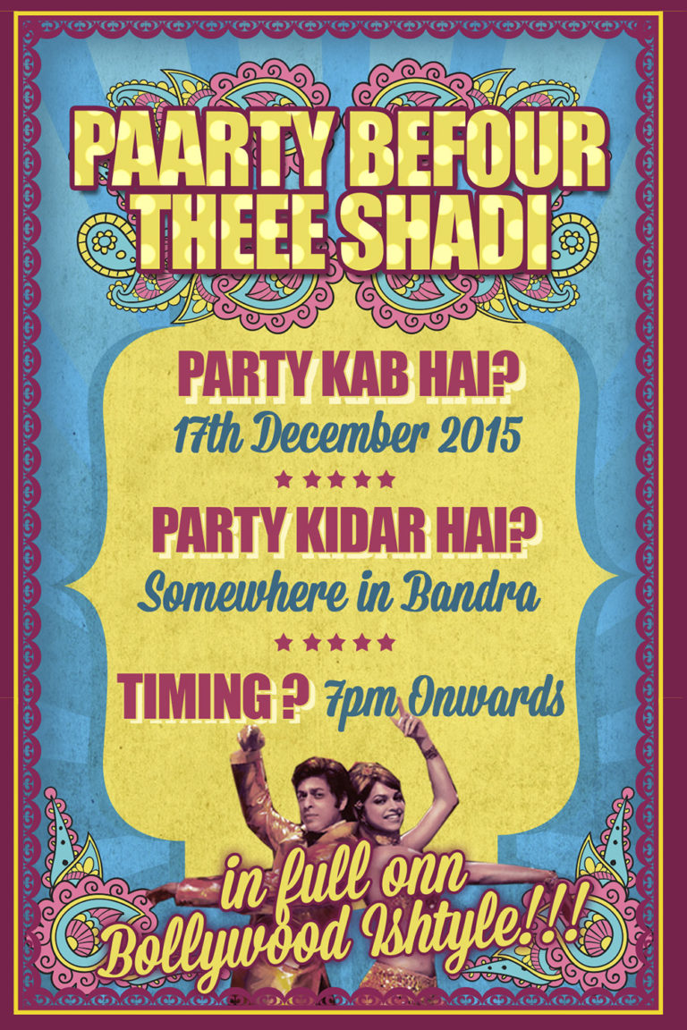 Bollywood Theme-Pre Wedding-Party Invite