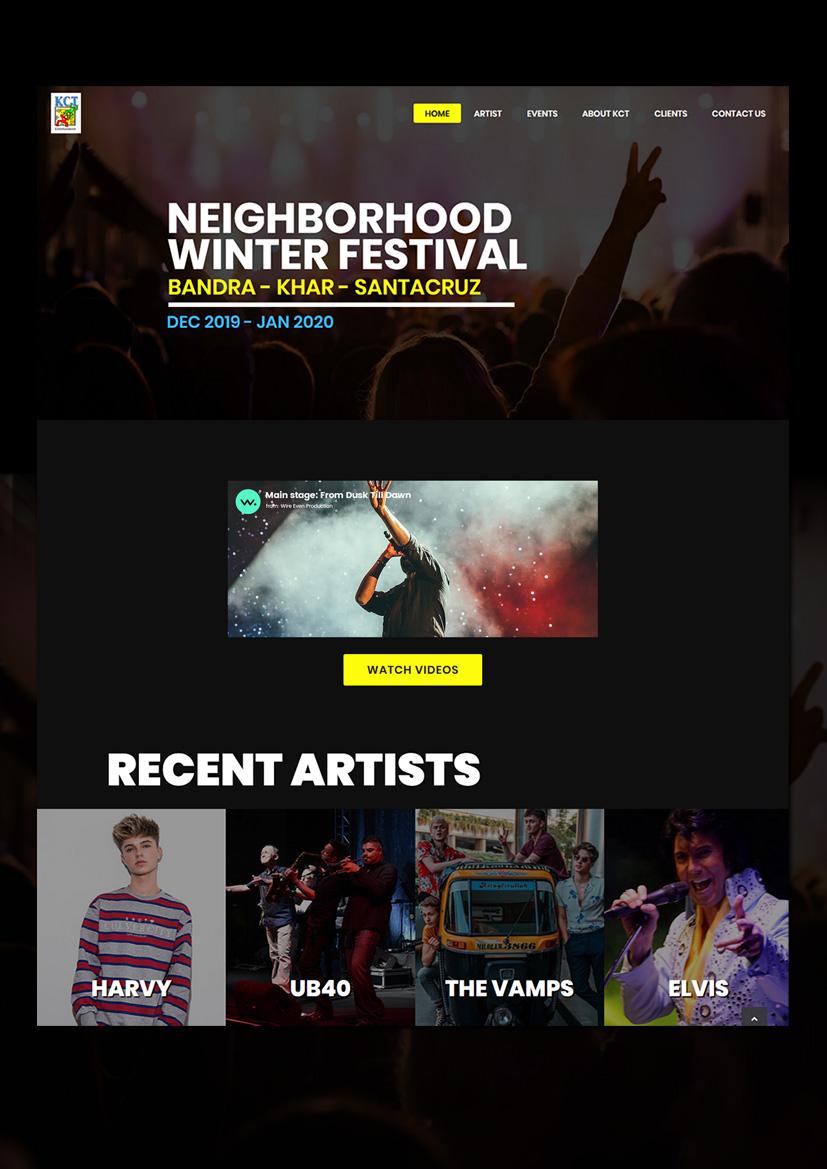 KCT-Entertainment Websit UI Design